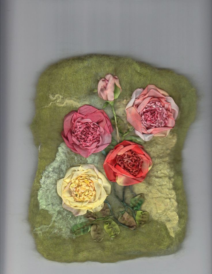 Roses with a crochet centre