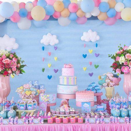 Temas de festa infantil para menina.  Chuva de Amor. Decoração