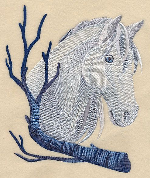 Embroidered Wintry horse quilt block, white horse