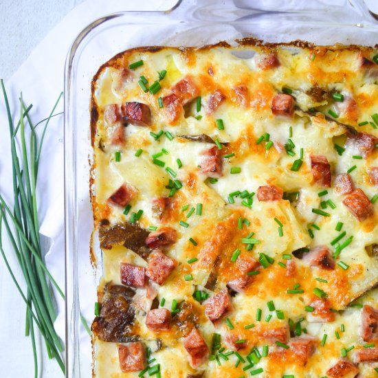 Twice baked scalloped potatoes with ham and chives make the best addition to brunch.