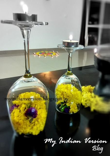 Diwali Decoration at My Home - Wine glass Diya