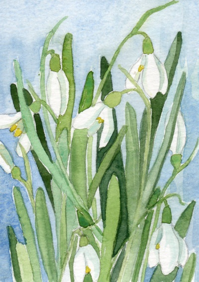 Floral ACEO original Watercolor painting spring winter flowers Nature snowdrops