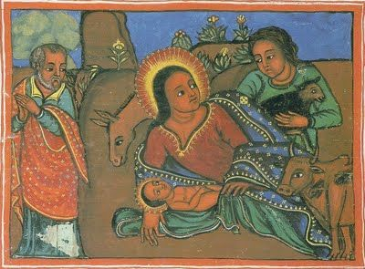 """In the Ethiopian Christmas story, the baby was not born in a stable, but in a cave.Here's the baby Jesus, with Mary his mother, Joseph and the midwife, Salome. Salome has brought a goat as a present. The ones here are several hundred years old. They were painted by monks on vellum (made out of sheepskin)."""