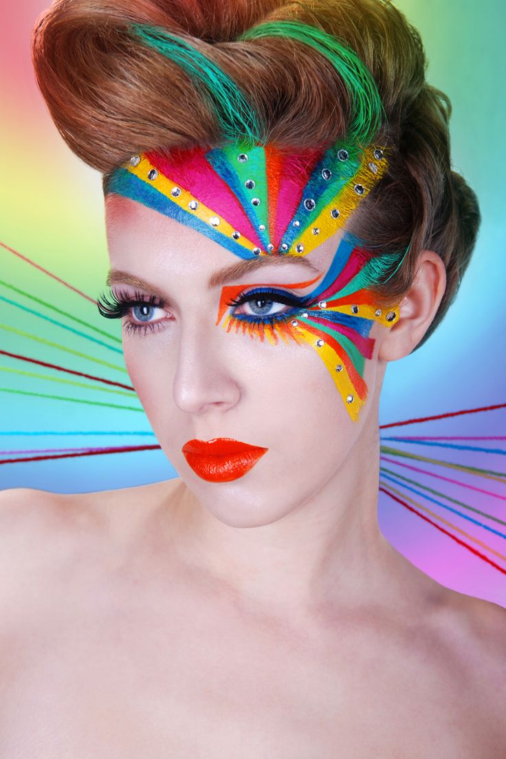 A vibrant rainbow of make-up with  crystals.