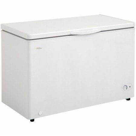 Danby 10.2 Cu.Ft. Chest Freezer, 2 Basket, Up Front Temperature Control 10.2 cu. ft. (289 liter) capacity chest freezer. Energy efficient foam insulated cabinet and lid. Rounded lid design. 2 vinyl coated baskets. Front mount mechanical thermostat.  #Danby #Major_Appliances