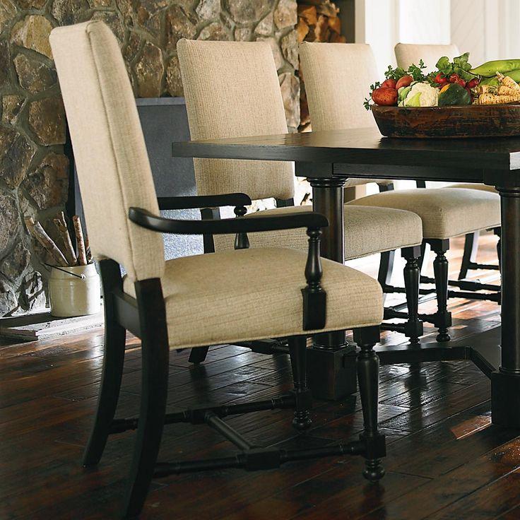 Classic Dark Oak Upholstered Dining Chair