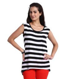United Colors Of Benetton Black And White Stripe Top