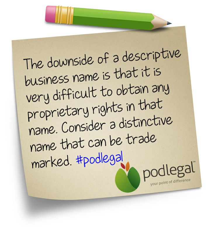 STICKY NOTE: Descriptive business names and trade marks #IP #trademarks #podlegal