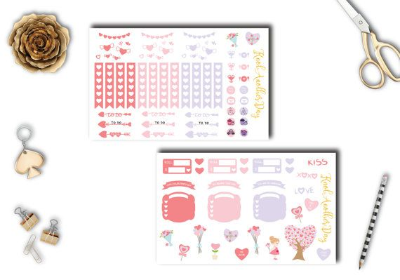 Valentines Day Deco Sticker Set Decorative and by KnotAnotherDay