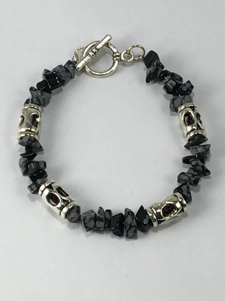 Handmade Men S Genuine Snowflake Obsidian Bracelet Genuine Obsidian