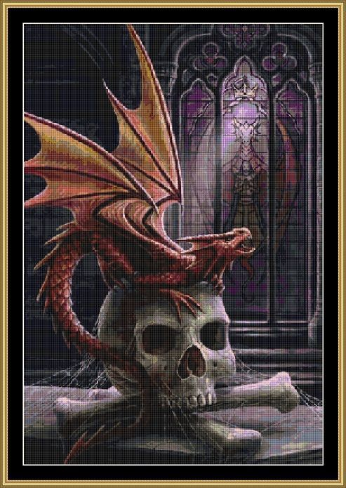 Red dragon with skull and cross bones