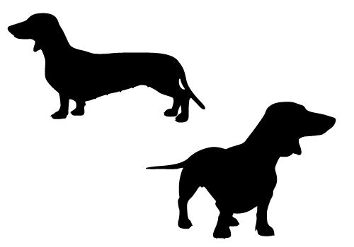 Cute and playful Dachshund pups in Silhouette Vector format for free download.