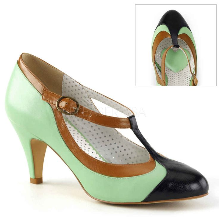 Pin Up Couture Peach-03 flapper pump met korte hak en T-bandje mint gr