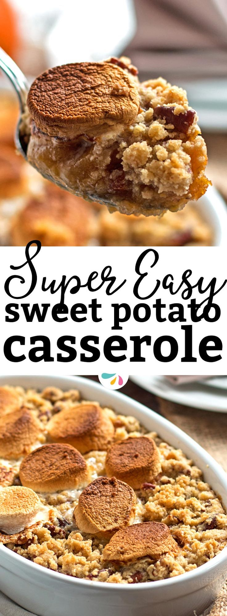 This Sweet Potato Casserole recipe is an absolute stunner! It's with both marshmallows and with a crumbly brown sugar pecan topping. making this the best Thanksgiving side dish ever! It's simple, quick and easy to whip up as it's all made in a food proces