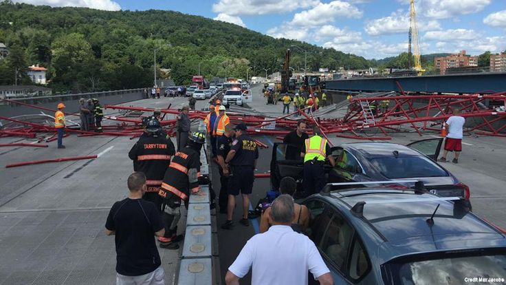 """ABC7NY on Facebook 20160719: """"A traffic nightmare, but the crane collapse on Tappan Zee Bridge could have been much worse. We're told 5 minor injuries - 3 people in vehicles who got into a fender bender when the crane came down and 2 workers. We're have updates throughout the day on the Eyewitness News app and on Eyewitness News First at 4:00 p.m."""""""