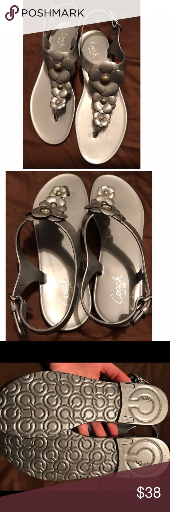 Coach women's sandals size 9 New Coach women's jelly sandals. Tried on but never been worn. Does not come with box  color is gray/Silver size 9 coach Shoes Sandals