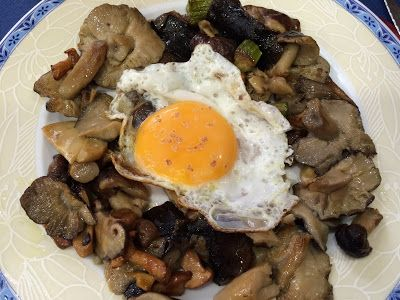 Mixed mushrooms with egg. Gorgeous.  Living in Sin: Madrid - El Cisne Azul for amazing mushrooms & other dishes!