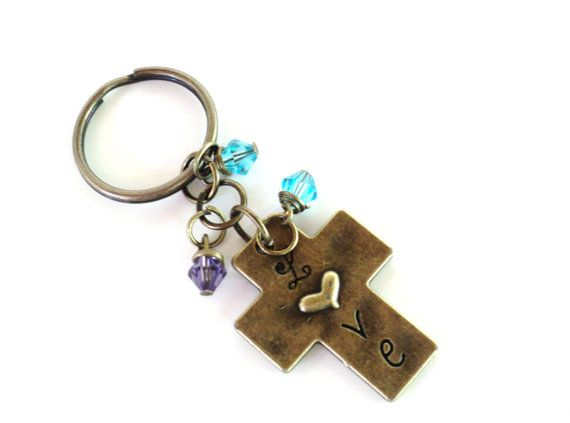 Love Cross Keychain Bag Charm Accessories Aqua Blue Purple Party Favors Unique Gift For Her Birthday Under 20 Item G40 on Etsy, $12.95
