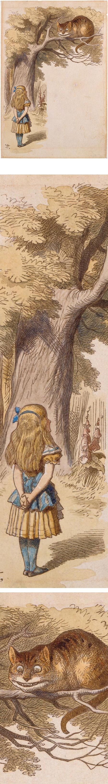 Cheshire Cat in the Tree Above Alice, Sir John Tenniel - Hand colored.