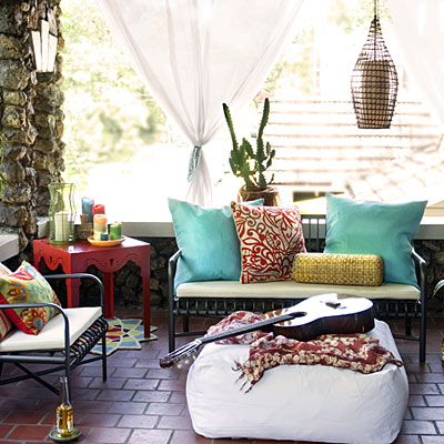 Bohemian Chic Outdoor / Backyard / Patio Space - Wood Lantern - Turquoise Pillow - Red Side TableDecor, Ideas, Outdoor Living, Bohemian Chic, Boho, Patios, Outdoor Spaces, Bohemian Home, Front Porches