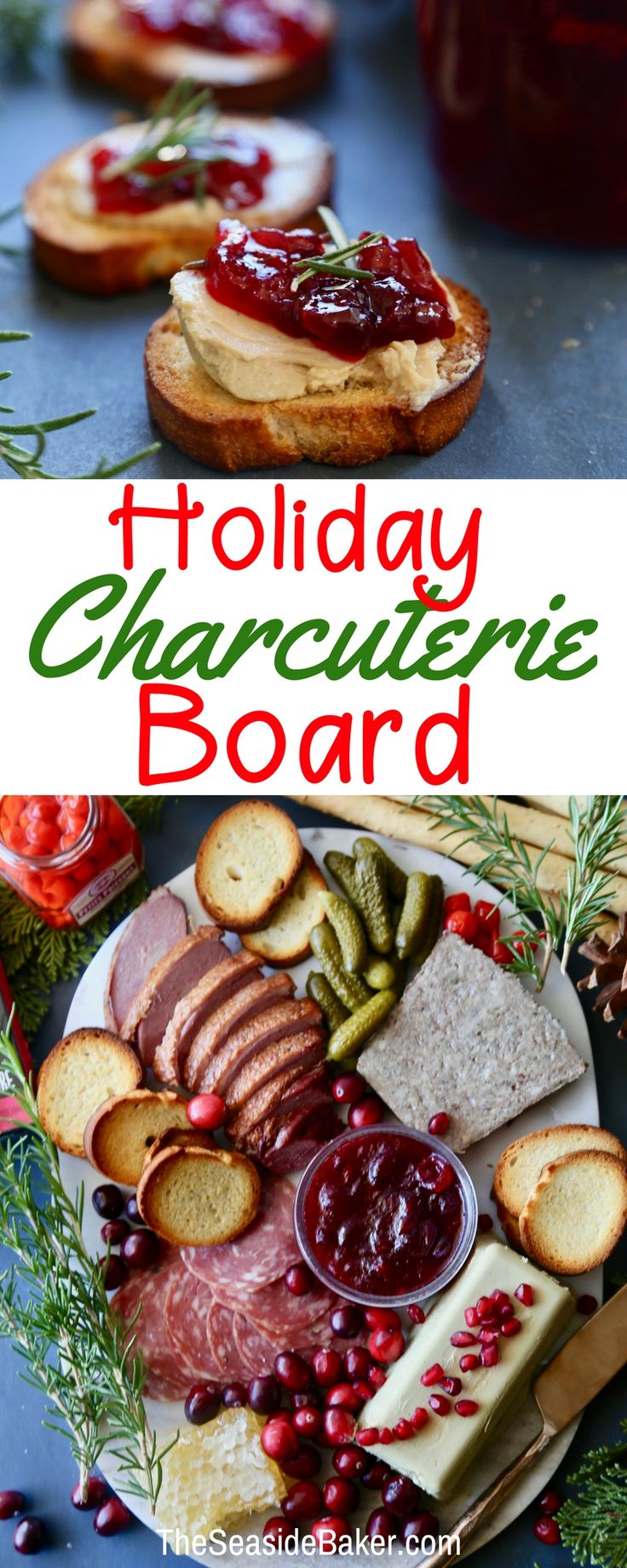 A Holiday Charcuterie Board Your Guests Won't Soon Forget! | Ideas | Ingredients | And how to build and display one perfect for entertaining! | theseasidebaker.com | #charcuterie #Unboardyourboard with #3pigspate instead! AD