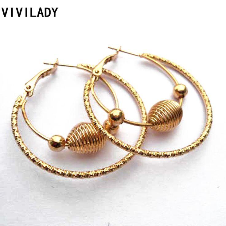 Viviladyファッションパンク鉛、ニッケルフリーゴールドカラービッグバスケットボール妻フープイヤリング女性の女の子の宝石ビジューアクセサリーギフト