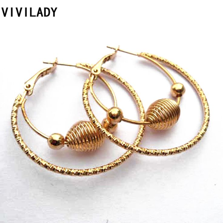 VIVILADY Fashion Punk Lead Nickel Free Gold Plated Big Basketball Wives Hoop Earrings Female Girl Jewelry Bijoux Accessory Gifts