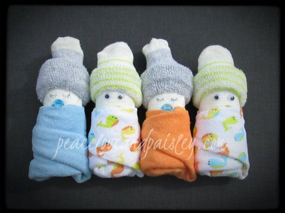 Diaper Babies - Set of 4 - Boy, Girl or Gender Neutral, Baby Shower Decoration, Baby Gift Topper