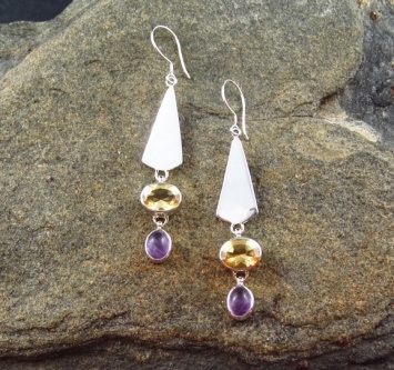 Sterling Silver Earrings featuring Citrine and Lavender Amethyst.