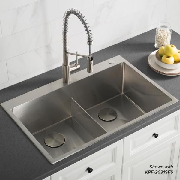 Kraus Standart Pro Drop In Topmount 16 Gauge Stainless Steel 33 In X 22 In Double Bowl 2 Hole Kitchen Sink Kht302 33 The Home Depot In 2021 Drop In Kitchen Sink Sinks Kitchen Stainless Contemporary