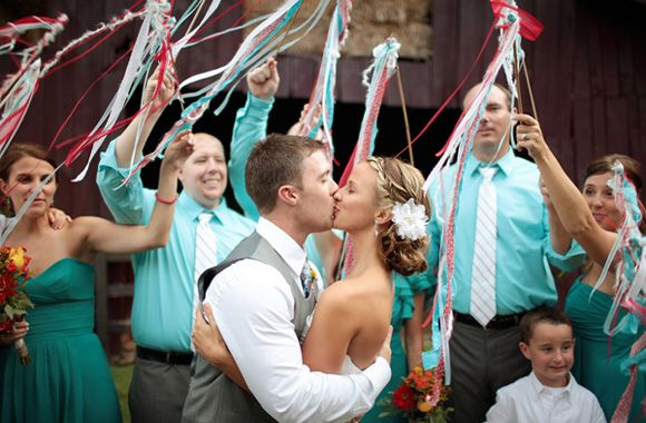 Oooh! and we can use the homemade streamer wands as table decorations during the reception to add more color to the tables. Then someone will just need to announce on the speaker to grab them when it's time to see us off.  ...now if I can just find a way to make them cheap.