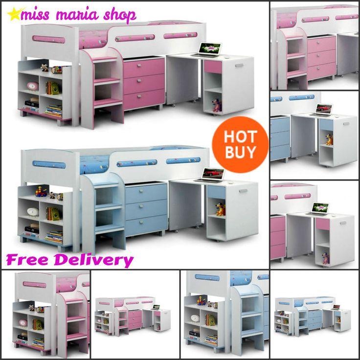 Bunk Bed Storage Desk Blue Pink Kids Bedroom Furniture Mid Sleeper Beds  Children | EBay On