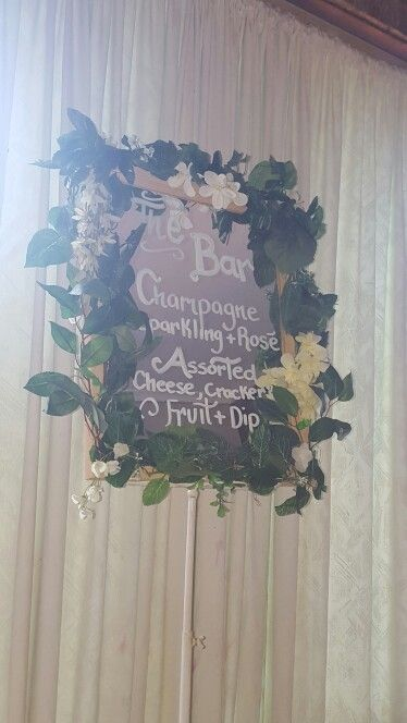 DIY wedding sign. perfect to go with my cheese and cracker setup. food trailer