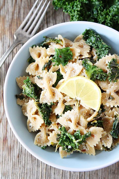 Goat Cheese Lemon Pasta with Kale Recipe on twopeasandtheirpod.com Takes less than 30 minutes to make and it's SO good!