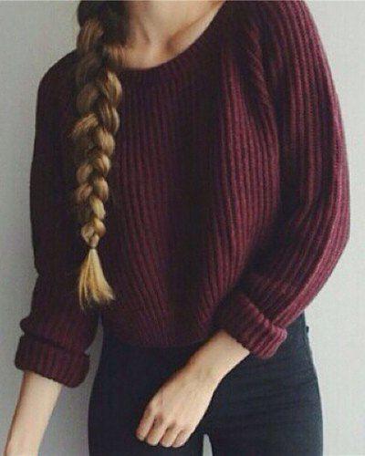 Scoop Neck Pull à manches longues pour femmes à la mode