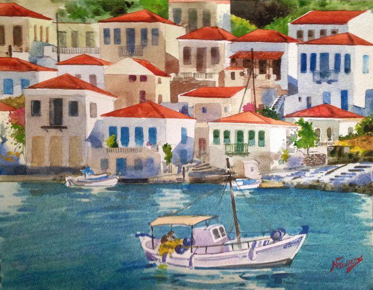 Chalki Greece 30x40 watercolor by Babis Douzepis