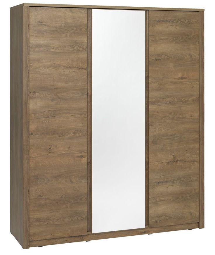 Dulapul VEDDE din melamină de stejar sălbatic cu aspect natural de lemn este extrem de incapator. Are 3 usi, este prevazut cu oglinda, sertare si 2 bare pentru umerase.     JYSK