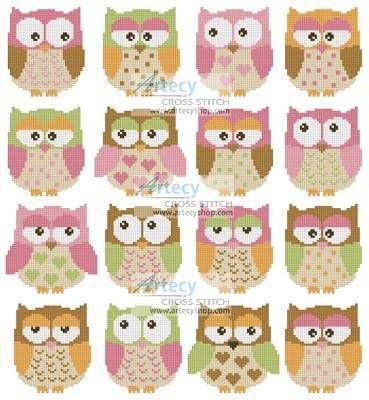 Owls Cross Stitch Pattern animals