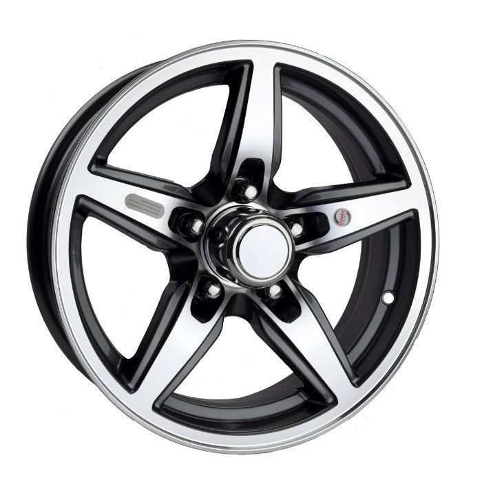 "Part #: OTP-2SO301B Description: 1 (One) wheel, 15""x5"", 5 hole, 5-4.5 pattern, Bobcat aluminum wheel in black trim. Lionshead Aluminum Wheels have automotive grade paint and clear coat which highlight"