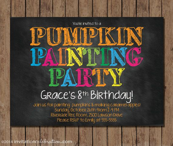 Pumpkin Painting Party Birthday Invitation  by InvitationCeleb #pumpkin #painting