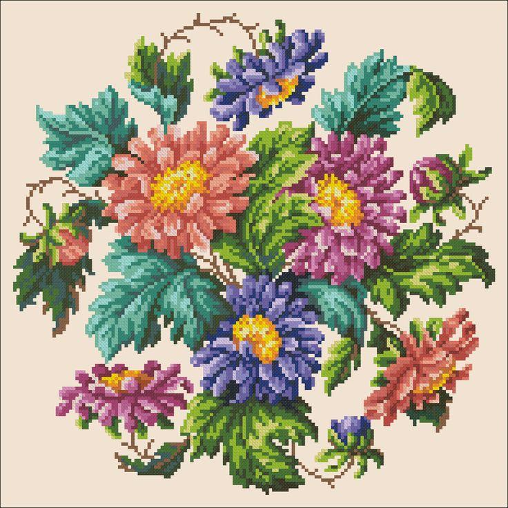 Chrysanthemums | Chart for cross stitch (Berlin work).