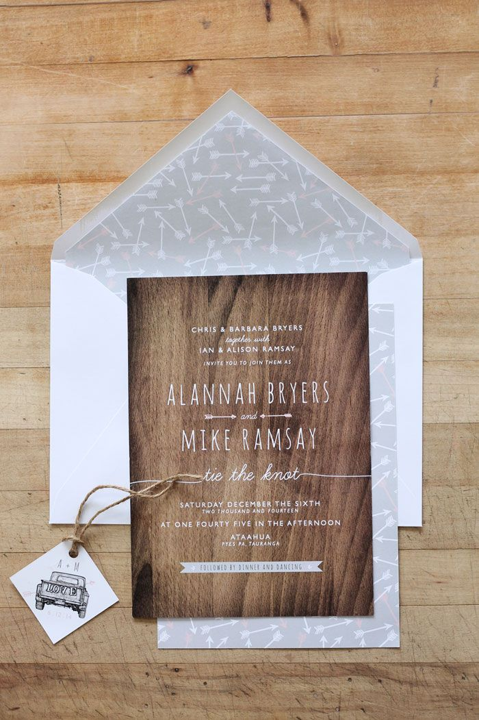 Wedding Invitation & Wedding Stationery Design NZ by Just My Type. Rustic Woodgrain, grey & pink Wedding Stationery