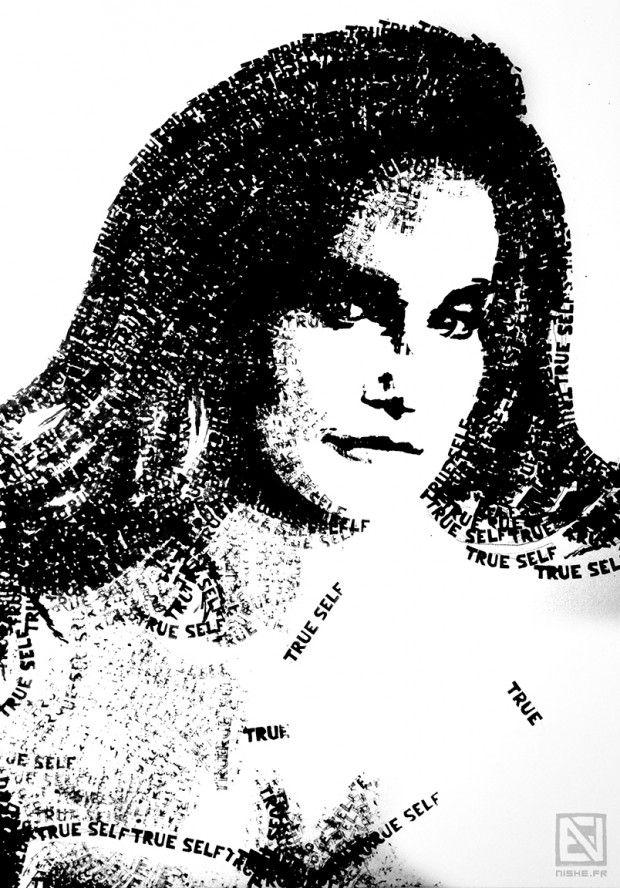 Nishe est une jeune artiste plasticienne française, elle réalise des portraits en noir et blanc composés de mots tamponnés, (taillés dans des gommes d'écoliers) ayant un rendu textuel à proximité, mais uniquement graphique à distance.  Ce que dit Nishe sur son travail: « Ces portraits représentent des personnages marquants et définissant actuellement notre époque dans des domaines variés (politique, arts, culture…) que cela soit de manière positive, neutre, ou négative...
