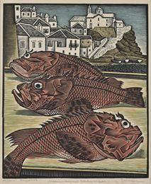 Scorpionfishes in Skopelos. 1950. Woodcut. Georgios Moschos.