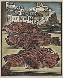 Scorpionfishes in Skopelos. 1950. Woodcut. Georgios Moschos.