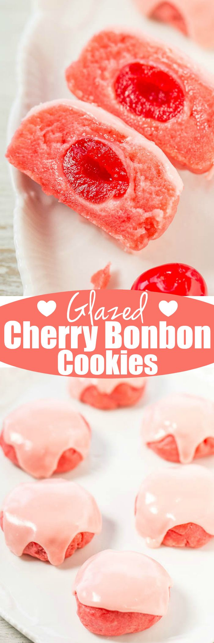 Glazed Cherry Bonbon Cookies - Soft, buttery cookies with the fun surprise of a cherry baked in!! The cherry juice glaze boosts the cherry flavor even more! Easy cookies that make everyone smile!!