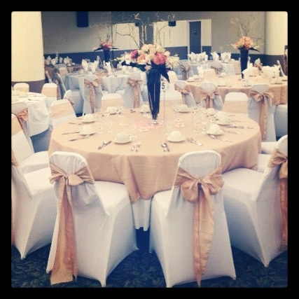White Spandex Chair Covers with Champagne Crinkled Taffeta Sashes and Overlays! :) TWITTER: @BayAreaLinens
