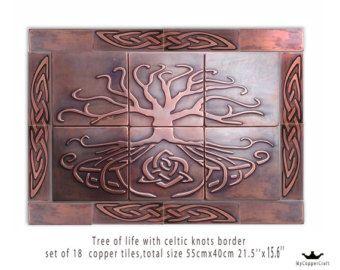 Kitchen tiles, SET OF 18 TILES, artistic celtic tiles,one of a kind tiles, Individual tiles, feature tiles