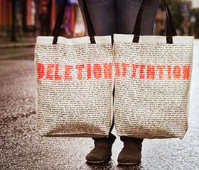 DELETION ATTENTION   Screen printed eco-friendly bag   Design by Nutty Tarts   by BAGNANAS