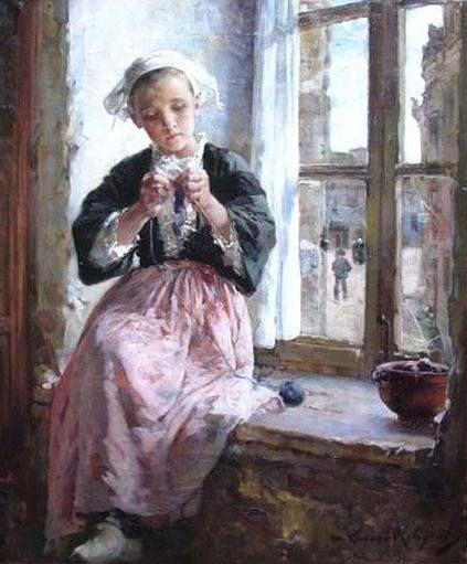 Marie Elisabeth Aimée Lucas-Robiquet (French painter) 1858 – 1959 Jeune Brodeuse, ca. 1921